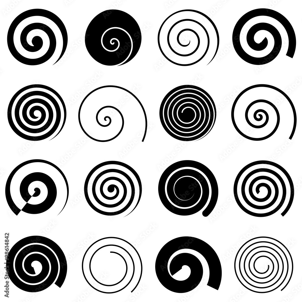 Fototapety, obrazy: Set of simple spirals, isolated vector graphic elements