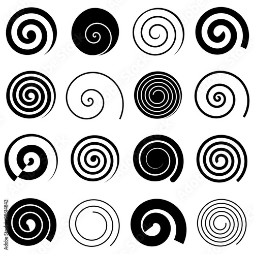 Obraz Set of simple spirals, isolated vector graphic elements - fototapety do salonu