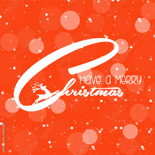 Merry Christmas poster with Merry Christmas message on Orange tone ...