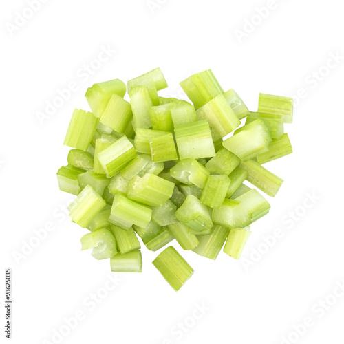 Fresh celery dice cut top view