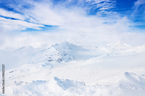 Fototapety, obrazy: Beautiful winter landscape with snow-covered mountains