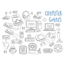 Computer Games Doodles Icon Se...