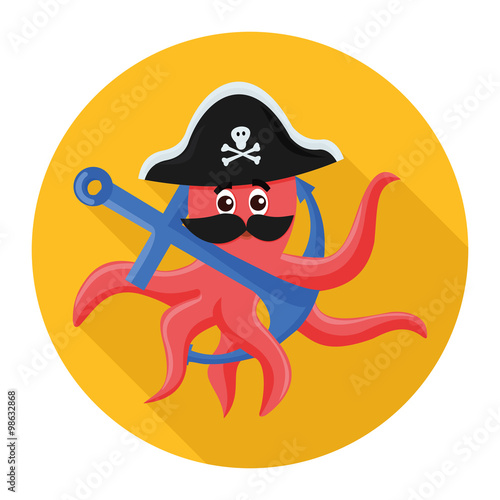 Photo  flat icon octopus pirate