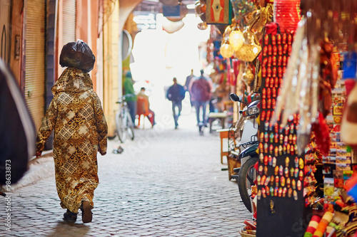 Spoed Foto op Canvas Marokko Women on Moroccan market in Marrakech, Morocco