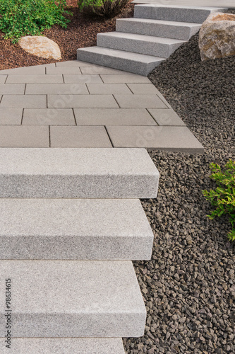 Moderner Vorgarten Als Steingarten Mit Aussentreppe Aus Granit