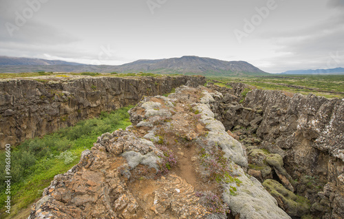 Fotografie, Obraz  The Mid Atlantic Ridge dividing Europe from America, cropping ou