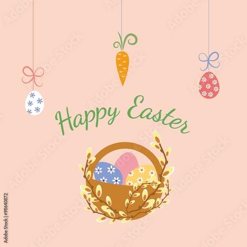 Poster de jardin Oiseaux en cage Easter eggs in basket and willow