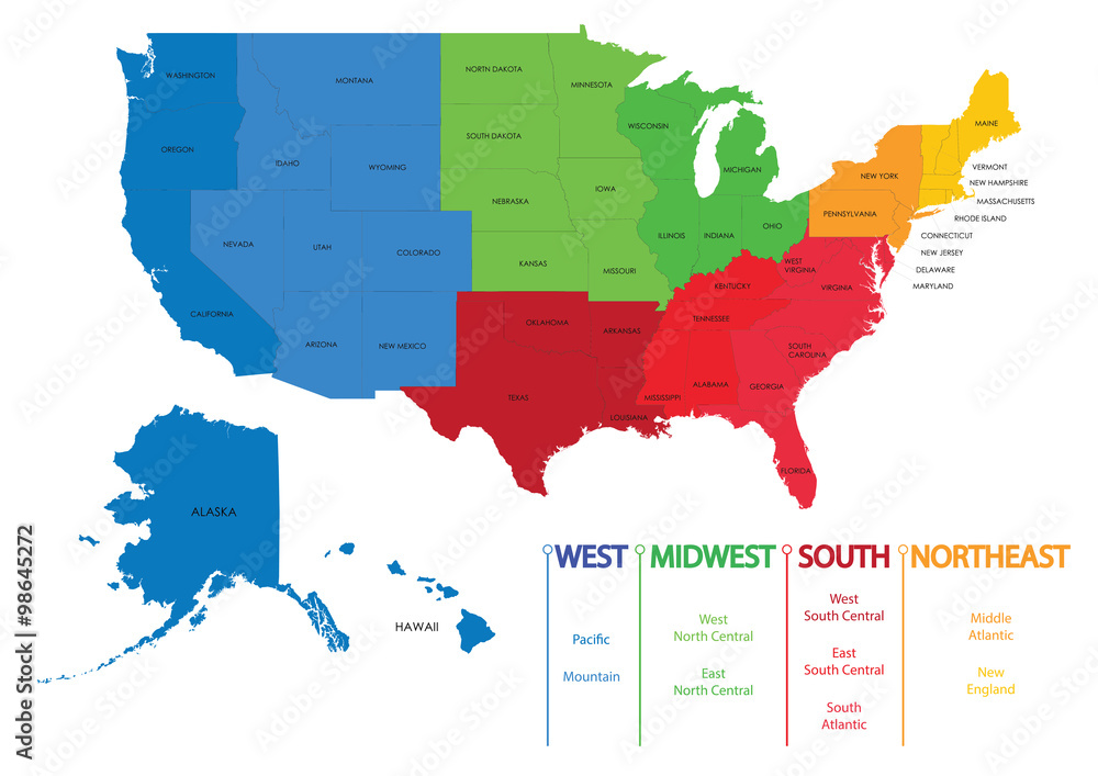 Print Map Of Usa.Photo Art Print Map Of Us Regions Maps Usa Europosters