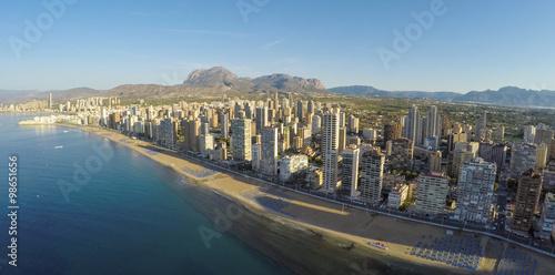 Panoramic aerial view of Playa de Levante, Benidorm blue sky, wa