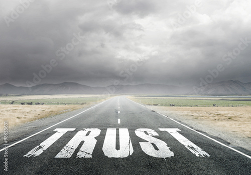 Fototapety, obrazy: Trust word on asphalt road