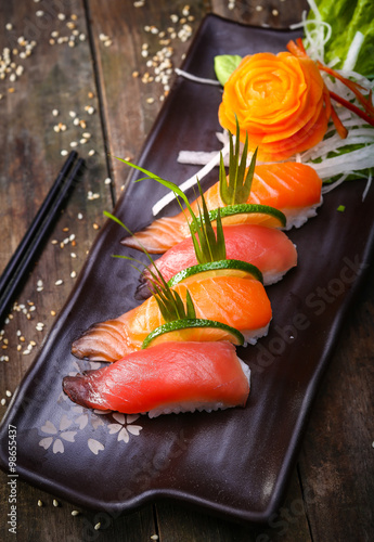 Japanese Salmon, tuna sushi and sauce closeup Wallpaper Mural