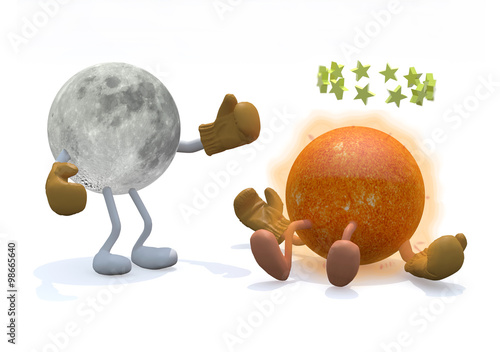 Photo  sun and moon with arms, legs and boxing gloves