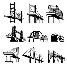 Bridges In Perspective Vector Icons Set