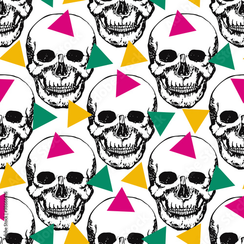 Foto op Plexiglas Art Studio Stylized skulls pattern. Hand drawn swatch with color triangle for textile, fabric, wrapping. Vector art.