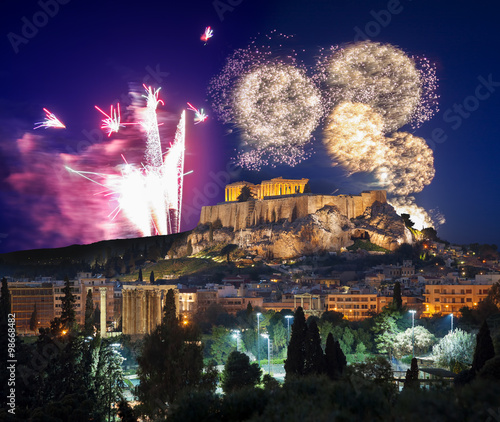 Poster Athens Acropolis with firework, celebration of the New year in Athens, Greece