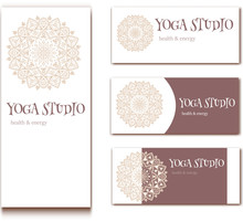 Design For Yoga Studio With Mandala In Soft Tones. Vector Illustration With Copy Space
