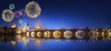 Charles Bridge And Beautiful Fireworks In Prague At Night