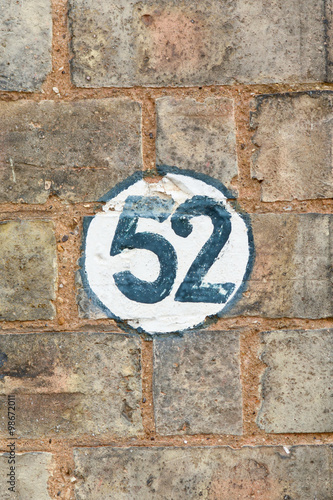 Poster  House number 52 sign