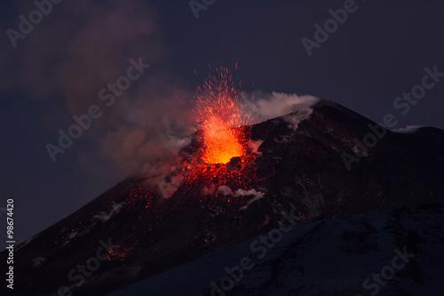 Staande foto Vulkaan Volcano eruption. Mount Etna erupting from the crater Southeast