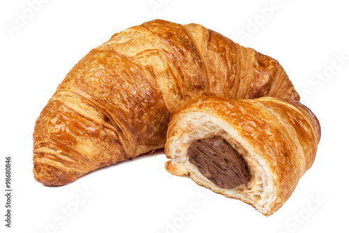 Fotografie, Obraz  Fresh Croissant with chocolate filling