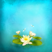 Water Lily Dragonfly Painting ...