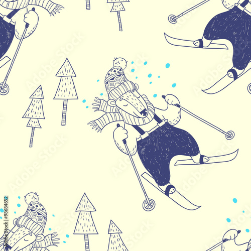 Cotton fabric Winter holidays. vector seamless pattern