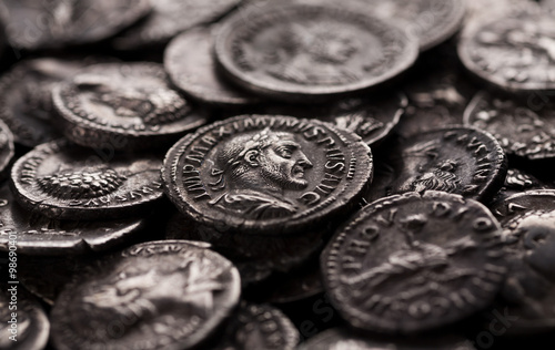 Fotografia, Obraz Authentic silver coins of ancient Rome