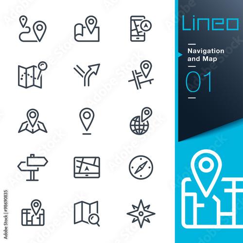 Fotografia  Lineo - ikony linii nawigacji i mapy