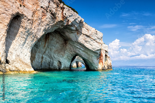 Fotomural Blue caves on Zakynthos Island in Greece