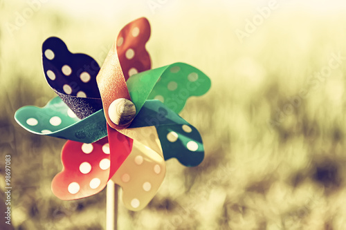 Close up of a Pinwheel on the grass (soft focus). Cross processe Fototapet