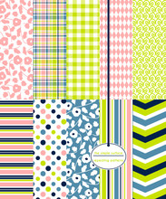 Floral And Geometric Seamless Pattern Set. Repeating Patterns For Baby Shower Paper, Scrapbooking, Gift Wrap, Fabric And More. Flower, Plaid, Gingham, Stripe, Polka Dot And Chevron Prints.