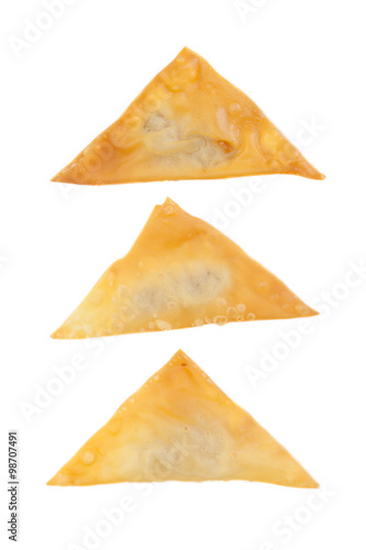 Photo  Delicious  appetiser chinese cuisine deep fried wonton isolated on white backgro