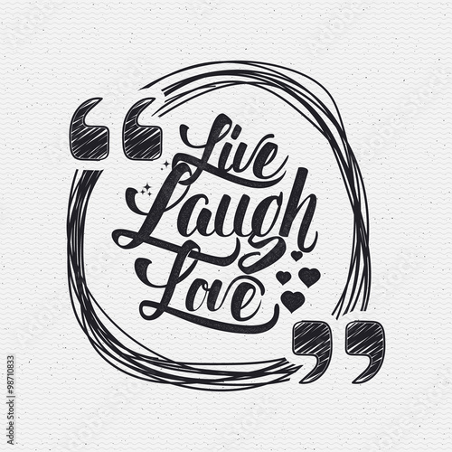 Live laugh love Hand lettering quote Canvas Print