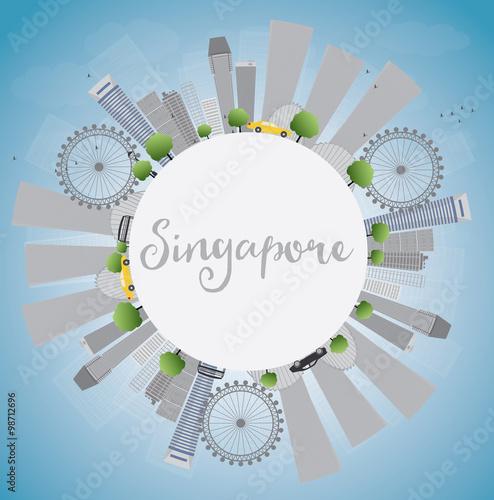 Singapore skyline with grey landmarks, blue sky and copy space Canvas Print