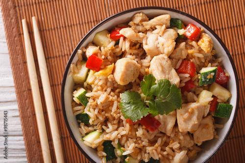 Photo  Tyahan with chicken and vegetables close up