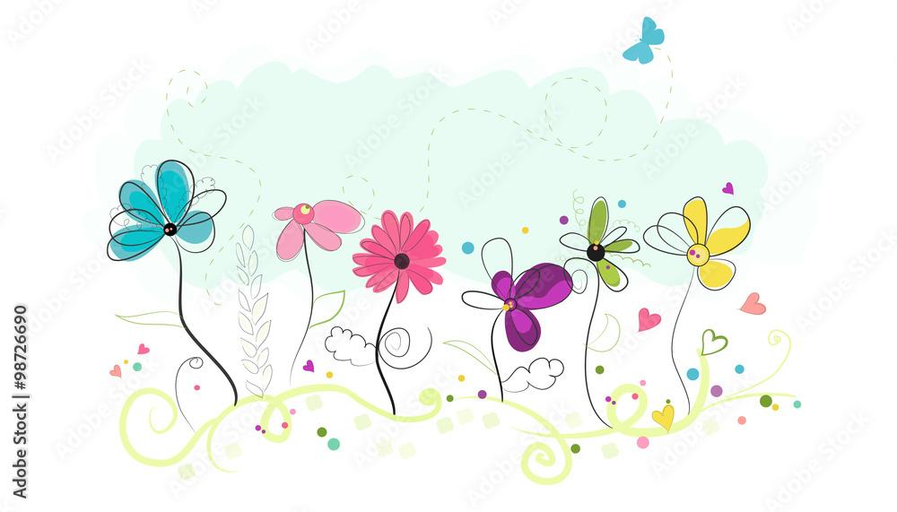 Kwiecistego doodle kwiatów wektoru abstrakcjonistyczny kolorowy tło <span>plik: #98726690   autor: Gulsen Gunel</span>