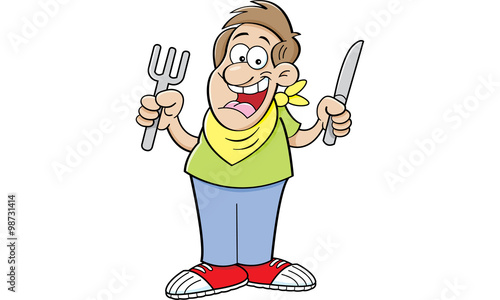 Valokuva  Cartoon illustration of a hungry man holding a knife and fork.