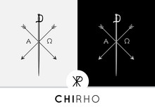 Conceptual Abstract Chi-Rho Symbol Design With Sword & Arrows Combined With Alpha & Omega Signs. Chi-Rho Symbolizes The Crucifixion Of Jesus In The Christian Faith. Vector Design.