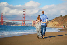 Romantic Loving Couple Having A Date On Baker Beach In San Francisco