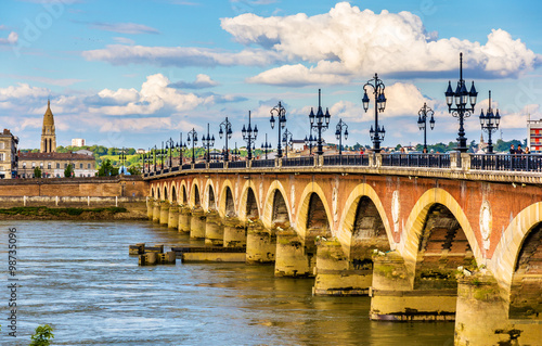 Pont de pierre in Bordeaux - Aquitaine, France Canvas Print