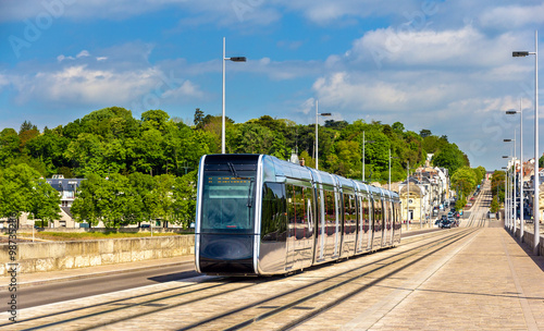 Fotomural Wireless tram on Pont Wilson Bridge in Tours - France