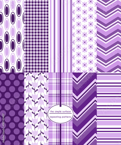 Repeating patterns for digital paper, scrapbooking, cards, invitations, and paper backgrounds. File includes: flower prints, gingham/plaid, polka dots, stripes, chevron and ovals. - 98743407