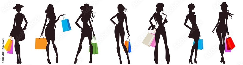 Fototapeta bags female silhouettes
