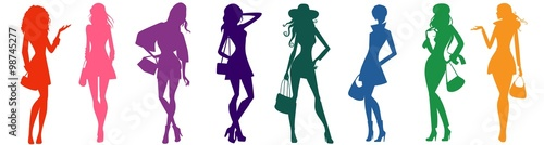 Obraz bags female silhouettes - fototapety do salonu