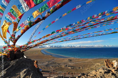 Namtso Lake in front of the Tanggula Mountains is one of the holy lakes for Tibetans in Tibet,China Billede på lærred