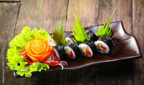Set of sushi rolls Canvas Print
