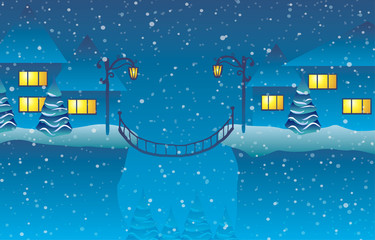 Vector illustration. Winter. Houses at the cliff and a bridge.