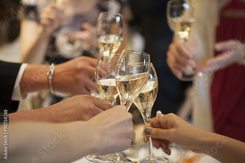 Leinwand Poster Toast with champagne