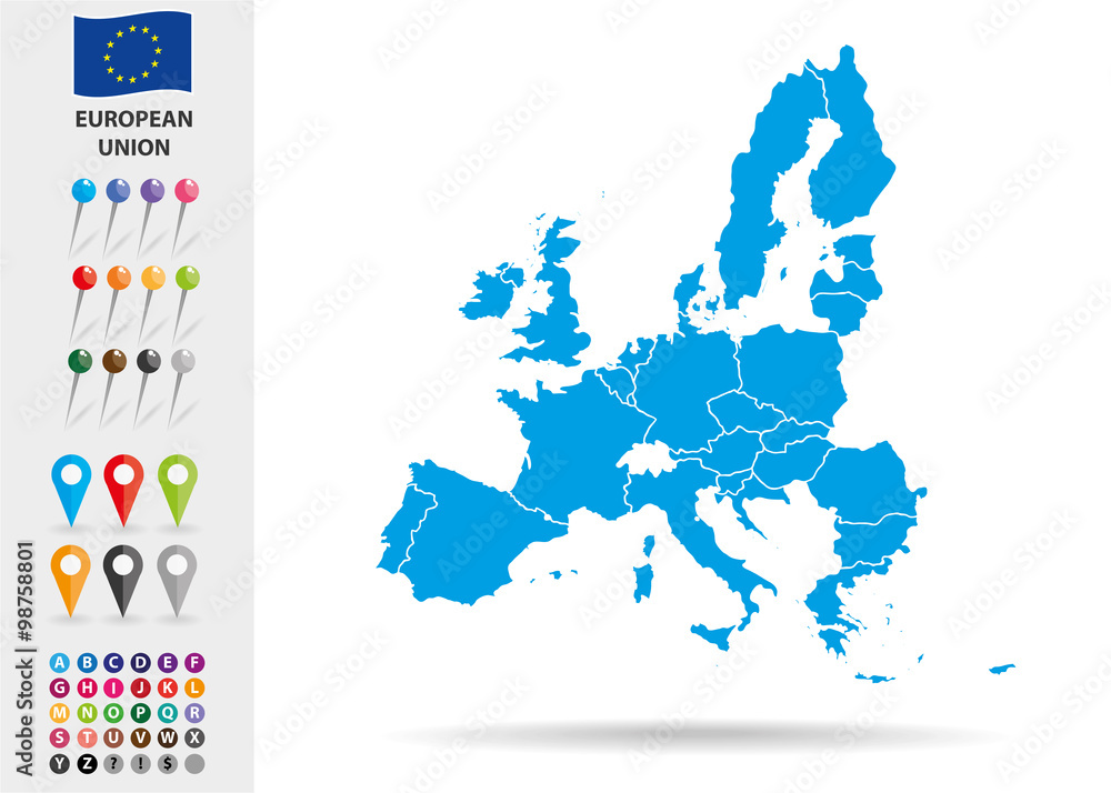 Fototapety, obrazy: Map of European Union