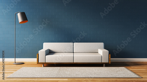 Fotografia, Obraz  Modern  living room with blue wall / 3d render image